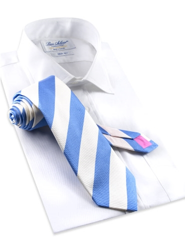 Summer Blue and White Block Stripe Tie