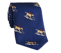 Silk Christmas Tie with Woven Sledding Labs in Navy