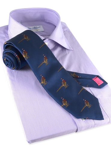 Silk Woven Pheasant Motif Tie in French Blue