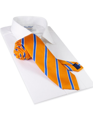 Silk Stripe Tie in Tangerine and Cornflower