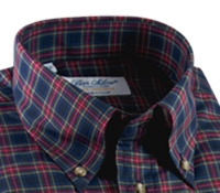 Navy and Red Plaid Button Down