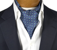 Silk Print Ascot with Diamond and Flower Motif in French Blue