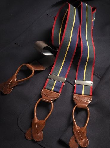 Navy, Olive & Red Striped Braces