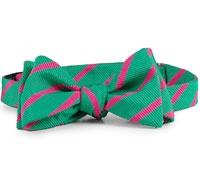Silk Cotton Woven Stripe Bow Green/Pink