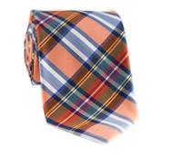 Silk Woven Plaid Tie in Clementine