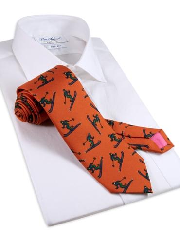 Jacquard Woven Ski Tie in Tangerine