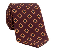 Wool Diamond Printed Tie in Wine
