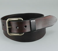 Dark Brown Leather Belt with Antique Brass Buckle
