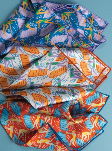 Silk Swimmer Motif Pocket Square