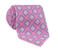 Silk Diamond Motif Printed Tie in Pink