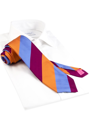 Mogador Silk Block Stripe Tie in Cobalt, Fuchsia, and Copper