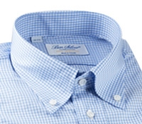 White and Blue Grid Twill Button Down