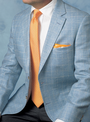 Sky Sport Coat with Cream Windowpane