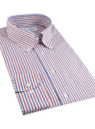 Red and Royal Bengal Stripe Linen & Cotton Button Down