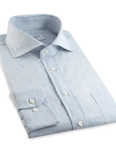 Sky Blue Grid Check Cutaway Collar in Linen