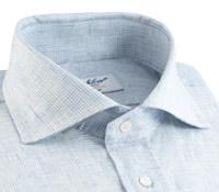Sky Blue Grid Check Cutaway Collar in Linen