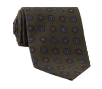 Silk Printed Medallion Motif Tie in Moss