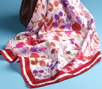 Silk Floral Scarf in Ruby