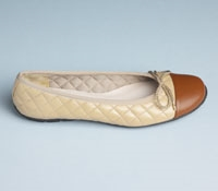Quilted Flats in Beige with Luggage Tan Toe