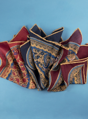 Wool and Silk Paisley Printed Pocket Squares