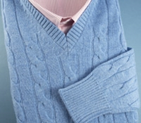 Cashmere Cable Knit Pullover Sweater in Blue Haze