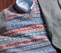 Lambswool Fair Isle Sweater Vest in Ash