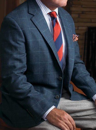 Storm Blue Lambswool Sport Coat with Sky Windowpane