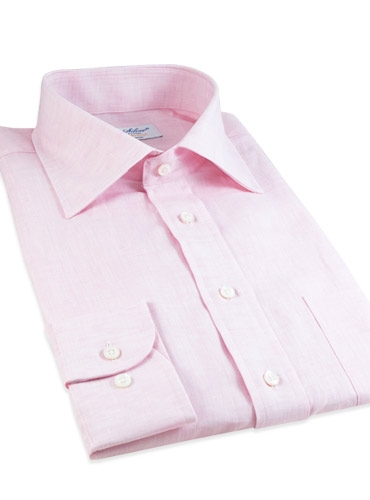 Pink Linen Spread Collar