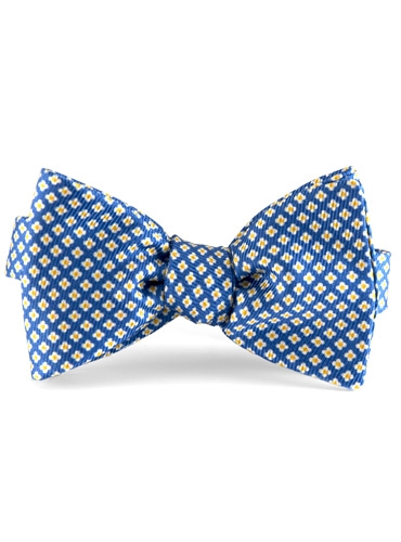 Silk Print Small Flower Bow in Blue with Marigold