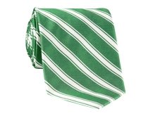 Silk Woven Double Stripe Tie in Kelly