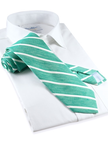 Silk and Linen Stripe Tie in Kelly