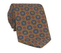 Wool Printed Medallion Motif Tie in Spice
