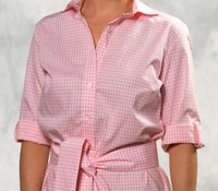 Pink and White Gingham Check Cotton Shirt Dress