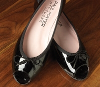 Patent Peep Toe Flats in Black