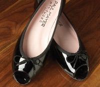 Patent Peep Toe Flats in Black