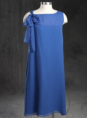 Ladies Bow Chiffon Blue Dress