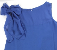 Ladies Bow Chiffon Blue Dress