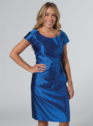 Cap Sleeve Sheath Dress in Blue