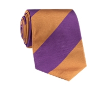 Silk Block Stripe Tie in Violet and Gold