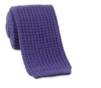 Sea Island Cotton Knit Tie in Plum