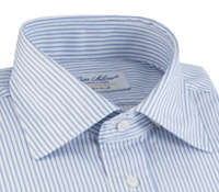 White & Blue Narrow Stripe Spread Collar