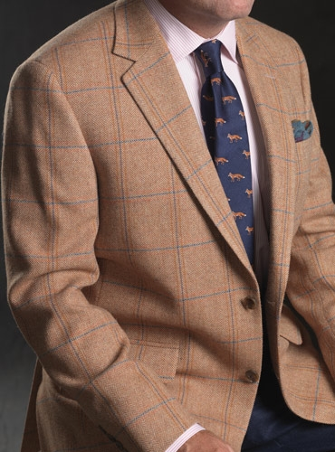 Sienna Herringbone Lambswool Sport Coat with Open Double Pane in Blue and Salmon