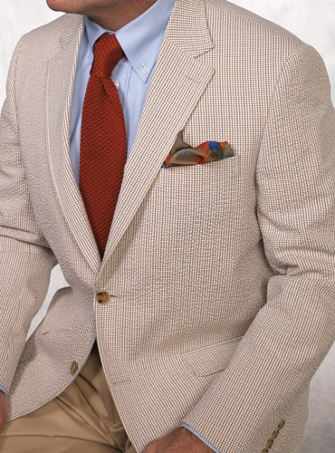Red and Blue Checked Seersucker Sport Coat