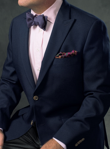 Fall and Winter Weight Hopsack Blazer in Navy