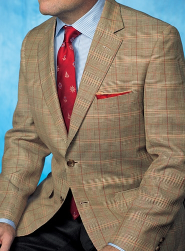 Spice and Cream Glen Plaid Sport Coat with Windowpane