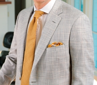 Silver and Cream Glen Plaid Sport Coat