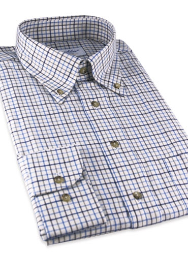 Tattersall Check Brushed Cotton Button Down in Brown, Blue, and Tan