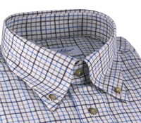 Chocolate, Beige, & Sky Tattersall Brushed Cotton Button Down