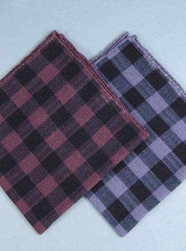 Wool Print Large Check Pocket Square