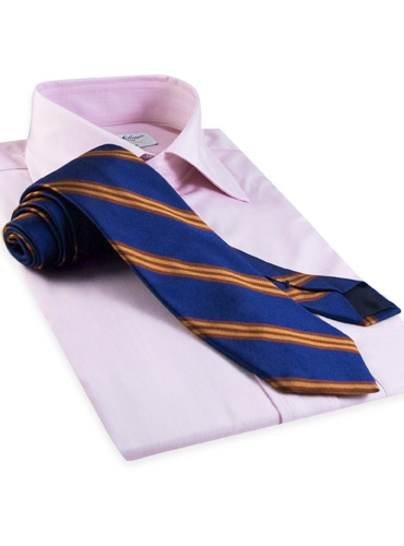 Silk Woven Triple Stripe Tie in Marine